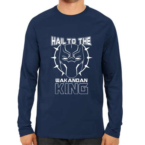 Hail To The Wakandan King Full Sleeve Navy Blue