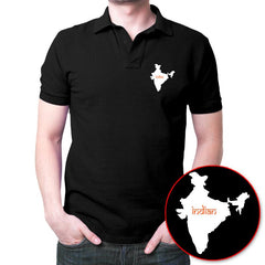 Indian Map Polo T-Shirt Black