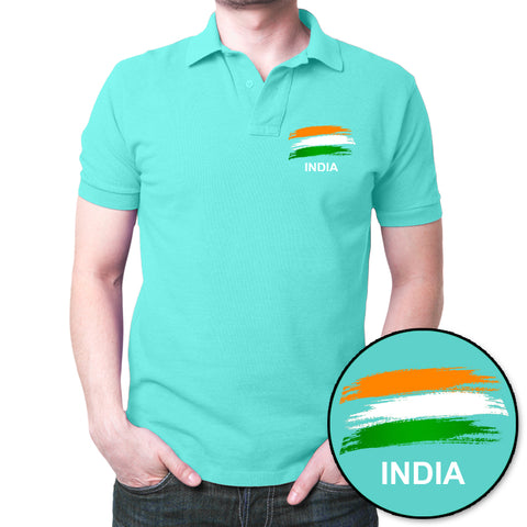 India Flag Polo T-Shirt Sky Blue