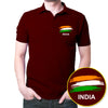 Image of India Flag Polo T-Shirt Maroon