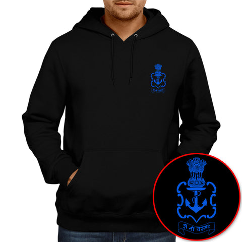 Indian Navy Logo Hoodie - Black