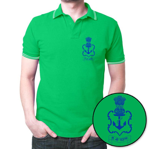 Indian Navy Logo Polo T-Shirt Green