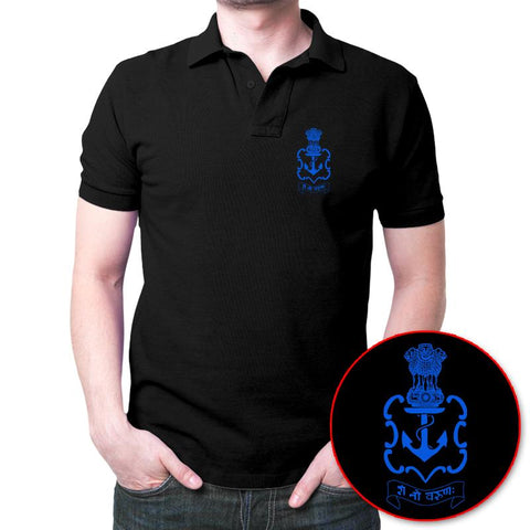 Indian Navy Logo Polo T-Shirt Black