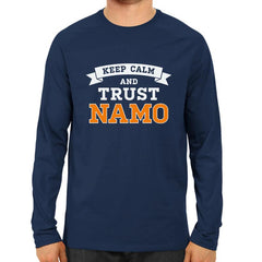 Keep Calm And Trust Namo -Full Sleeve Navy Blue