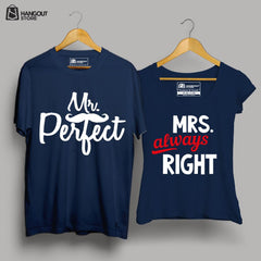Mr perfect and Mrs Always Right - Half sleeve Navy Blue