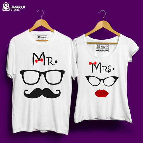 Mr and Mrs - Half Sleeves White
