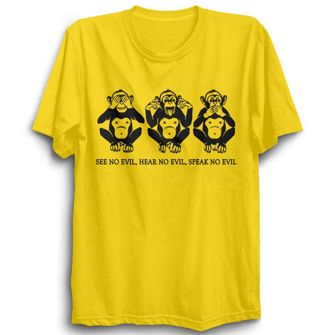 Mahatma Gandhi's Three Monkeys Half Sleeve Yellow