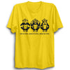 Image of Mahatma Gandhi's Three Monkeys Half Sleeve Yellow