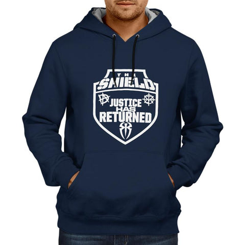 The Shield Justice Has Returned- Navy Blue Hoodie