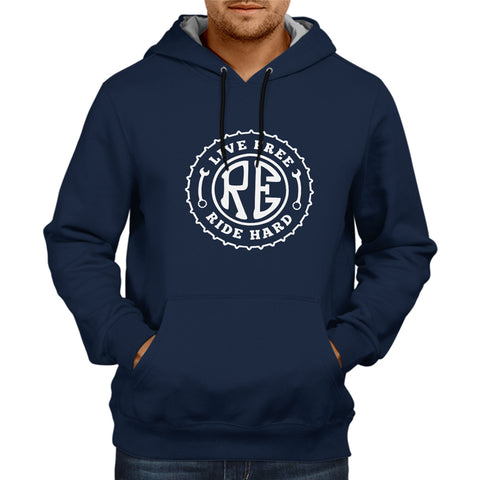 Live Free Ride Hard -Navy Blue Hoodie