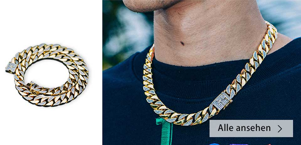 12mm 14k gold iced two-tone cuban link chain - aporro brand