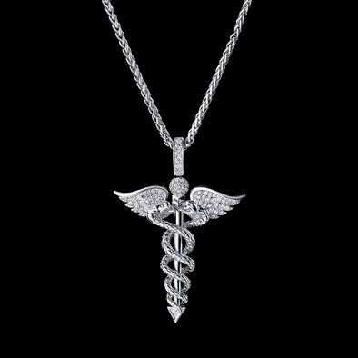 White Gold Iced Staff of Hermes Pendant