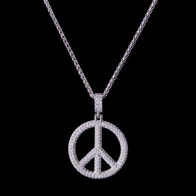 White Gold Iced Peace Sign Pendant