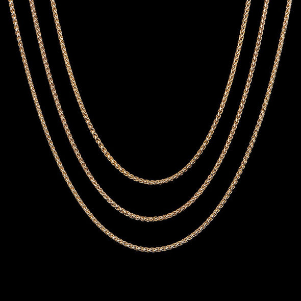 18''+20''+22'' 2.5mm 14K Gold Franco Chain Set