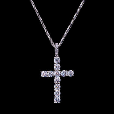 White Gold Iced Tennis Cross