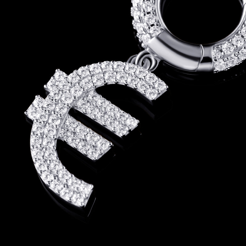 Iced EUR € Ohrring in 925 Sterling Silber (Gelbgold)