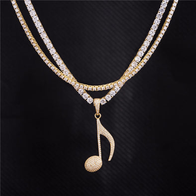 14K Gold Double Tennis Chains and Pendant Set