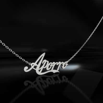 Custom White Gold Iced Letter Name Necklace