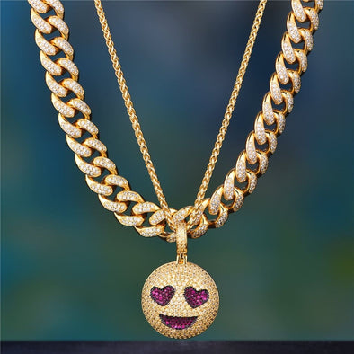 12Mm 14K Gold Iced Cuban Choker + Grinning Face With Heart Eyes Emoji Set - Cuban Link Set