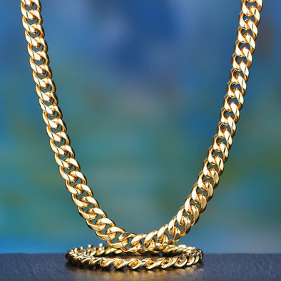 12Mm 14K Gold Miami Cuban Chain And Bracelet Set - Cuban Link Set