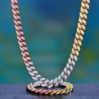 12Mm Tri-Colored Iced Cuban Chain And Bracelet Set - Cuban Link Set