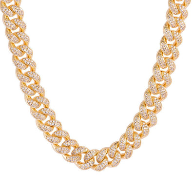 12mm Diamond Cuban Link Chain-18K Yellow Gold