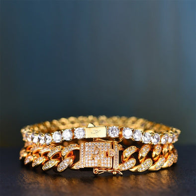 14K Gold 12Mm Iced Cuban And 5Mm Tennis Bracelet Set - Other Set