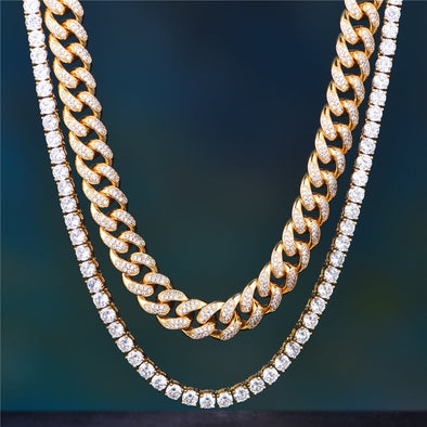 14K Gold 12Mm Iced Cuban Chain And Tennis Chain Set - Sets