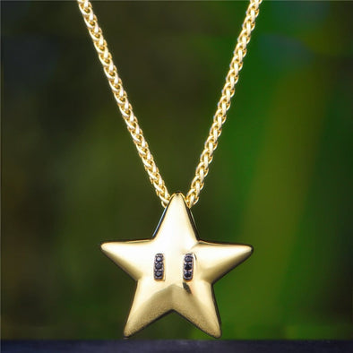 14K Gold Black Ice Super Star - Pendant