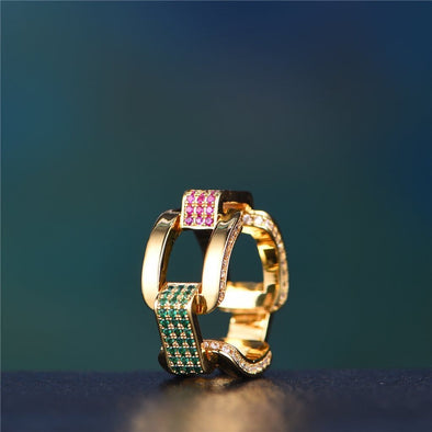 14K Gold Colored Iced Hermes Link Ring With Green Stones - Ring