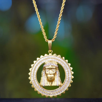14K Gold Holly Iced Jesus - 18 2.5Mm Rope Chain - Pendant