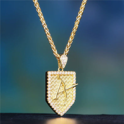 14K Gold Iced Aporro And Shield Brand - Pendant