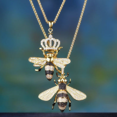 14K Gold Iced Bee And Queen Bee Set - Other Set