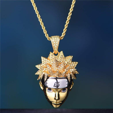 14K Gold Iced Naruto Pendant - 18 2.5Mm 14K Gold Rope - Pendant