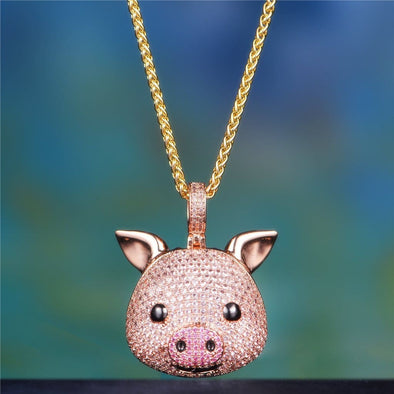 14K Gold Iced Pig Face Emoji - 18 2.5Mm Franco Chain - Pendant