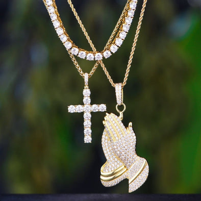14K Gold Tennis Chain+ Tennis Cross+ Praying Hand Set - Tennis Set