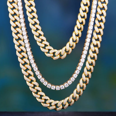 14K/ White Gold 18 + 24 Cuban Chains + 20 Tennis Chain Set - Other Set