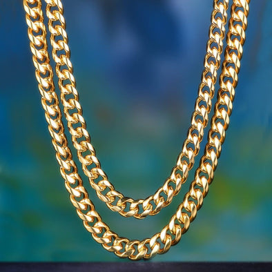 18+24 12Mm 14K Gold Miami Cuban Curb Chain - Cuban Link Set