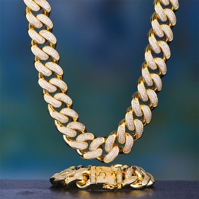 19Mm 14K Gold Iced Cuban Chain And Bracelet Set - Cuban Link Set