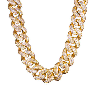 19mm Diamond Cuban Link Chain-18K Yellow Gold