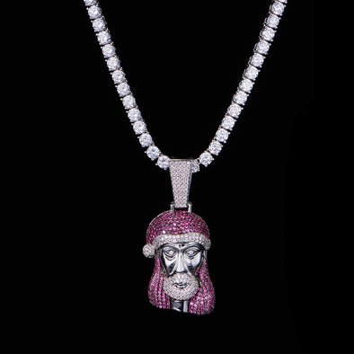 White Gold Iced Christmas Jesus Pendant