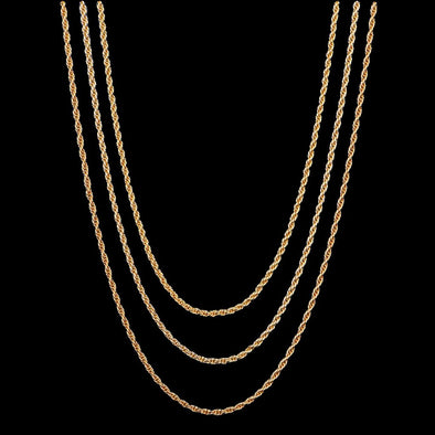 18''+ 202''+ 24'' 2.5mm 14K Gold Rope Chain Set