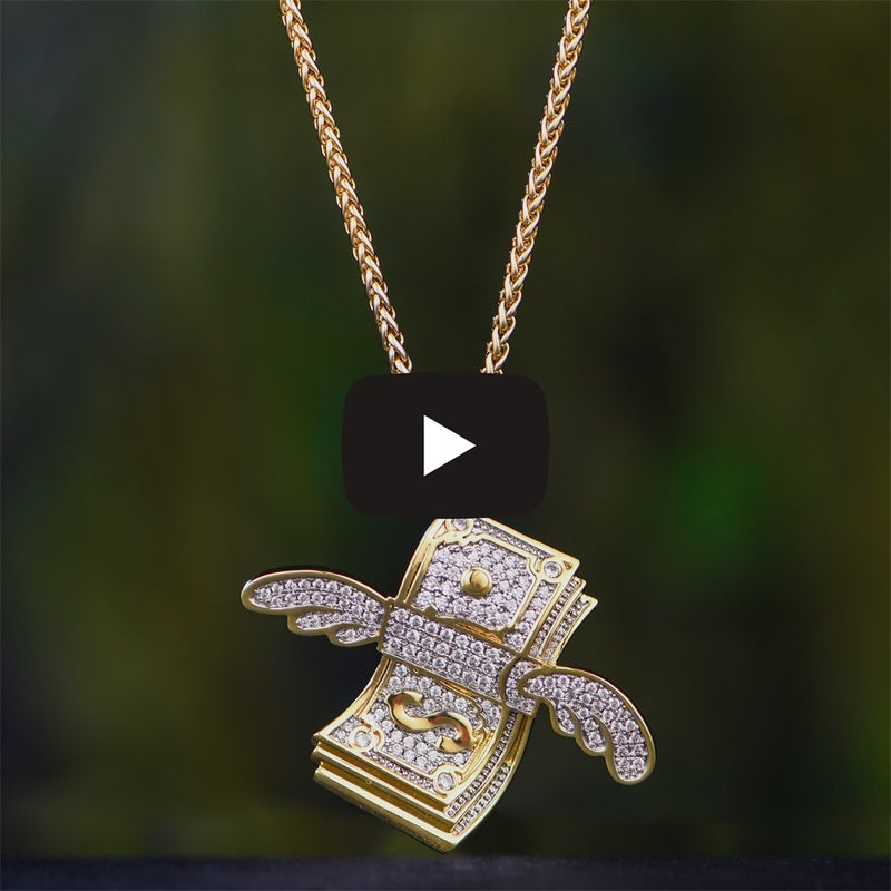 14K Gold Flying Dollar Bill Emoji