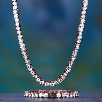 5Mm Rose Gold Tennis Chain And Bracelet Set - Tennis Set