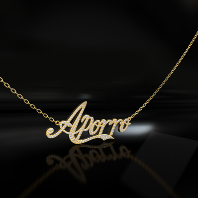 Custom 14K Gold Iced Letter Name Necklace