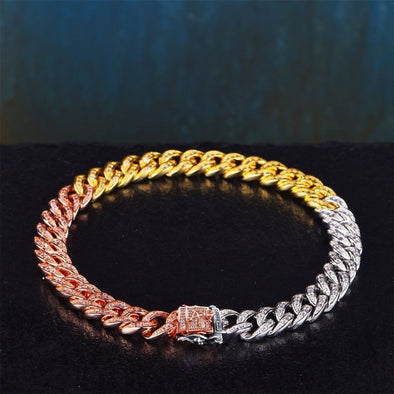 8Mm Tri-Colored Iced Cuban Link Bracelet - Cuban Link Bracelet