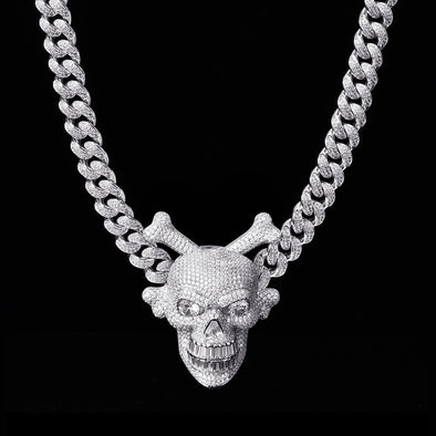 Spinning Skull and Crossbones Pendant in 925 Sterling Silver