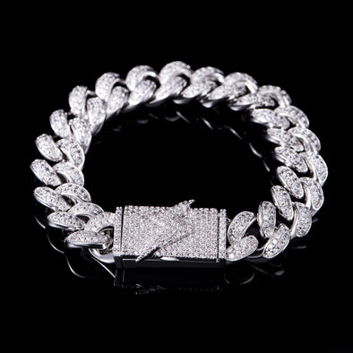12mm Lighting Box Clasp Pulsera Cuban