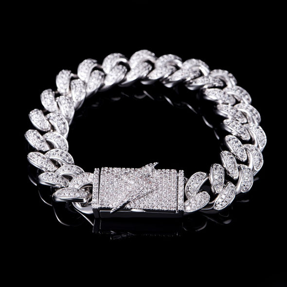 12mm Lighting Box Clasp Cuban Link Bracelet