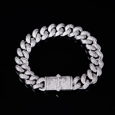 12mm Cross Box Clasp Cuban Link Bracelet